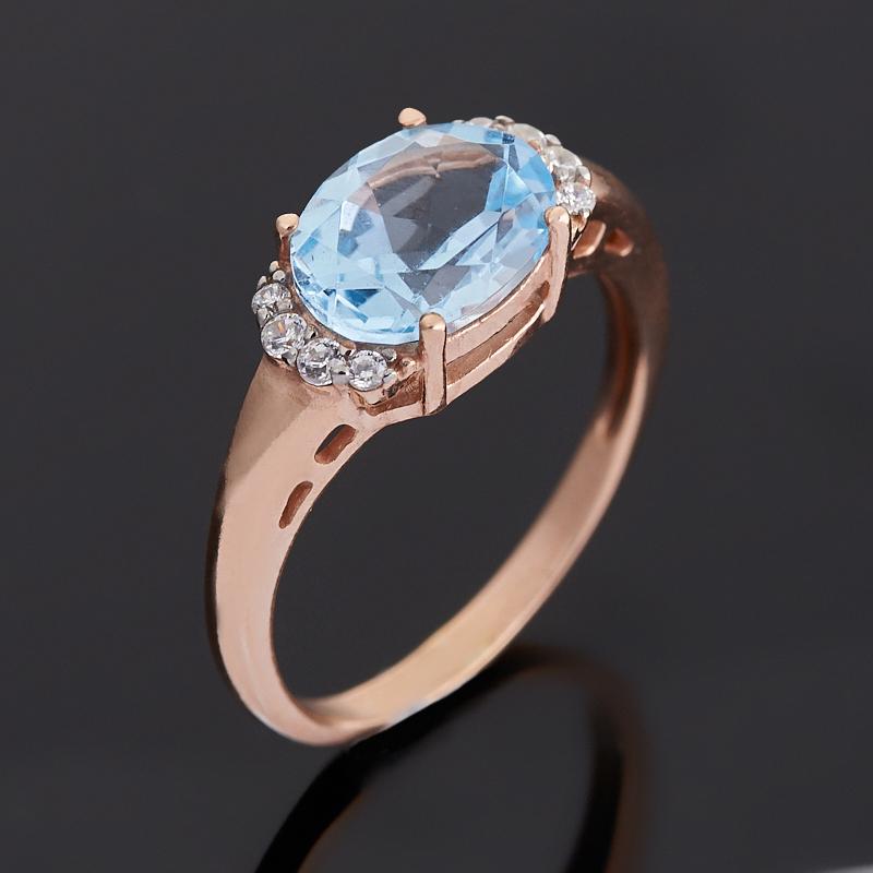 Кольцо топаз голубой (серебро 925 пр. позолота) огранка размер 18 коюз топаз кольцо т131043140