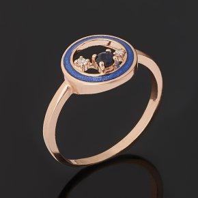 Кольцо сапфир Индия (серебро 925 пр. позолота, эмаль) огранка размер 16,5