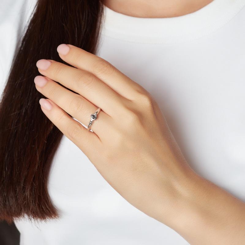 Кольцо бриллиант Россия (серебро 925 пр. родир. бел.) огранка размер 18,5