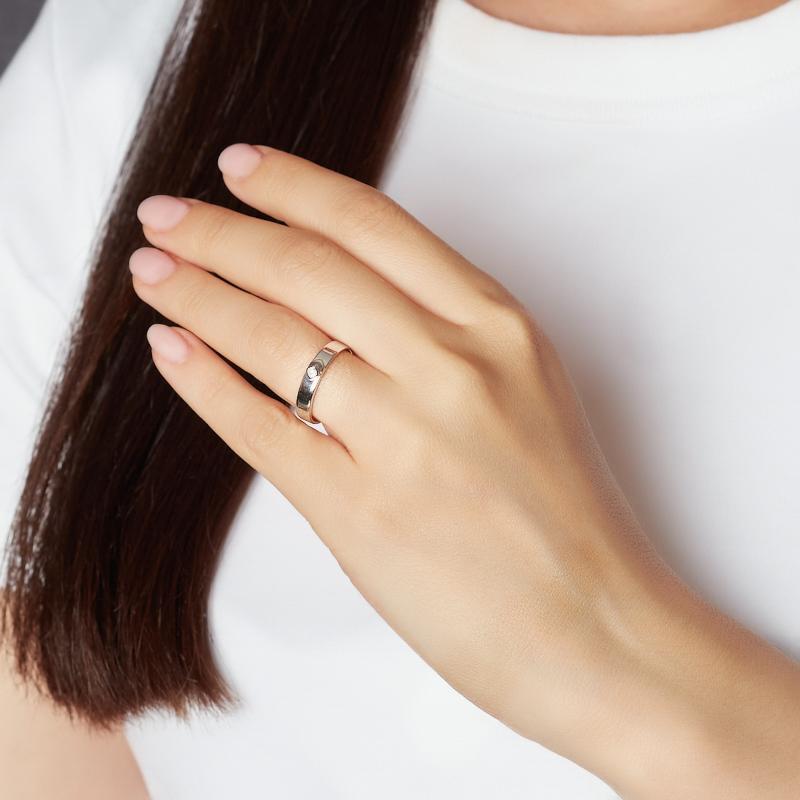 Кольцо бриллиант Россия (серебро 925 пр. родир. бел.) огранка (обручальное) размер 17,5