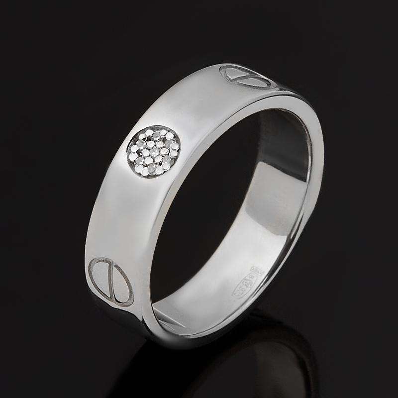 Кольцо бриллиант (серебро 925 пр. родир. бел.) огранка (обручальное) размер 17,5