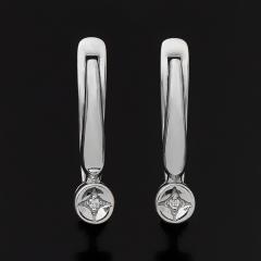 Серьги бриллиант Россия (серебро 925 пр. родир. бел.) огранка