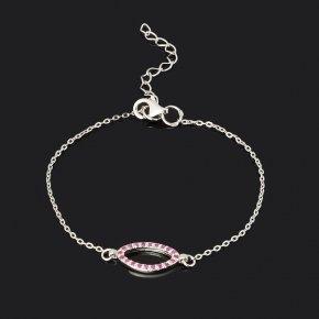 Браслет рубин Мьянма (серебро 925 пр. родир. бел.) огранка 16 см (+4 см)