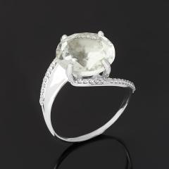 Кольцо празиолит Бразилия (серебро 925 пр. родир. бел.) огранка размер 17