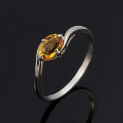 Кольцо цитрин Бразилия (серебро 925 пр. родир. бел.) огранка размер 16,5