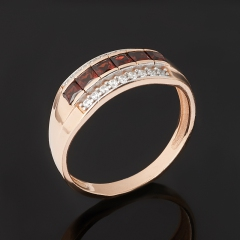Кольцо гранат альмандин Индия (серебро 925 пр. позолота) огранка размер 17,5