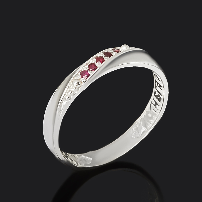 Кольцо Сохрани и спаси рубин Мьянма (серебро 925 пр. оксидир.) огранка размер 19,5