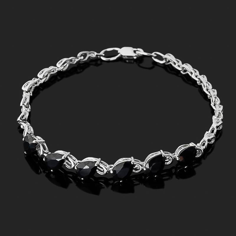 Браслет сапфир черный (серебро 925 пр. родир. бел.) огранка 17 см