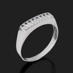 Кольцо сапфир черный Индия (серебро 925 пр. родир. бел.) огранка размер 20,5