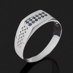 Кольцо сапфир черный Индия (серебро 925 пр. родир. бел.) огранка размер 21,5