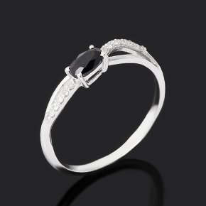 Кольцо сапфир черный Индия (серебро 925 пр. родир. бел.) огранка размер 16,5