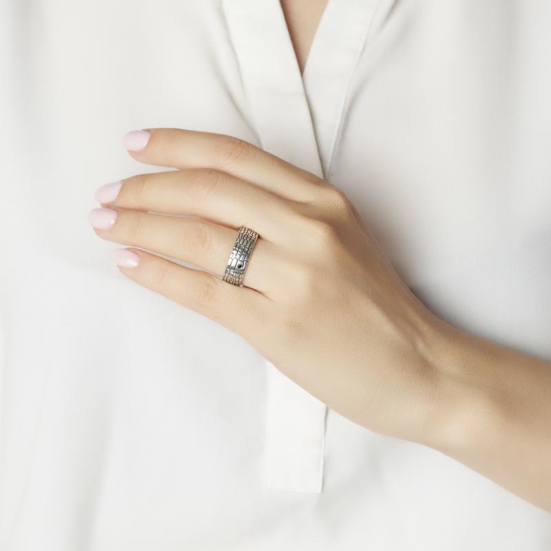Кольцо бриллиант Россия (серебро 925 пр. родир. бел.) размер 15,5