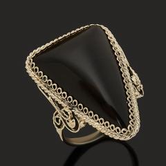 Кольцо обсидиан черный Армения (нейзильбер) размер 18