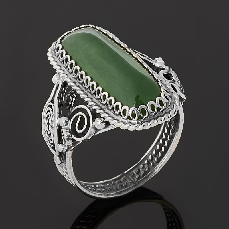 Кольцо нефрит зеленый Россия (нейзильбер) размер 17