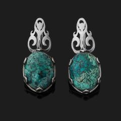 Серьги бирюза Тибет (серебро 925 пр. оксидир.)