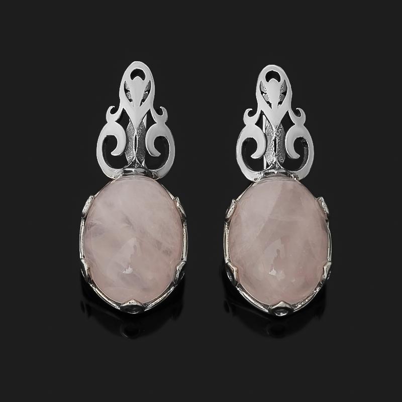Серьги розовый кварц (серебро 925 пр. родир. бел.) недорого