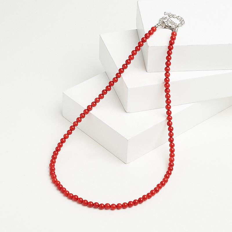 Бусы коралл красный (биж. сплав) 5 мм 45 см (+7 см)