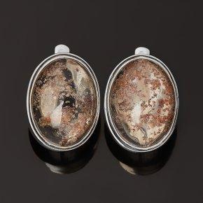 Серьги кварц с хлоритом Бразилия (серебро 925 пр. оксидир.)