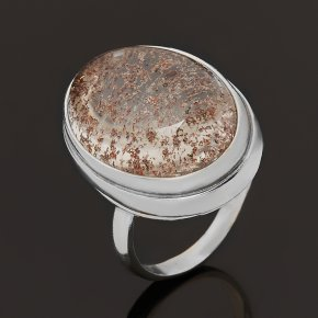 Кольцо кварц с хлоритом Бразилия (серебро 925 пр.) размер 17