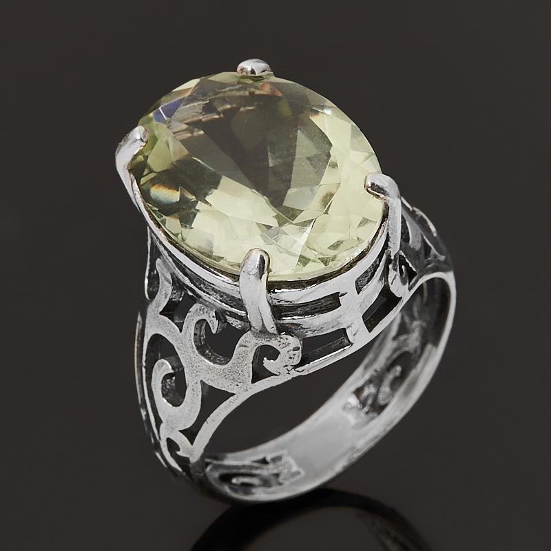 Кольцо празиолит  (серебро 925 пр. оксидир.)
