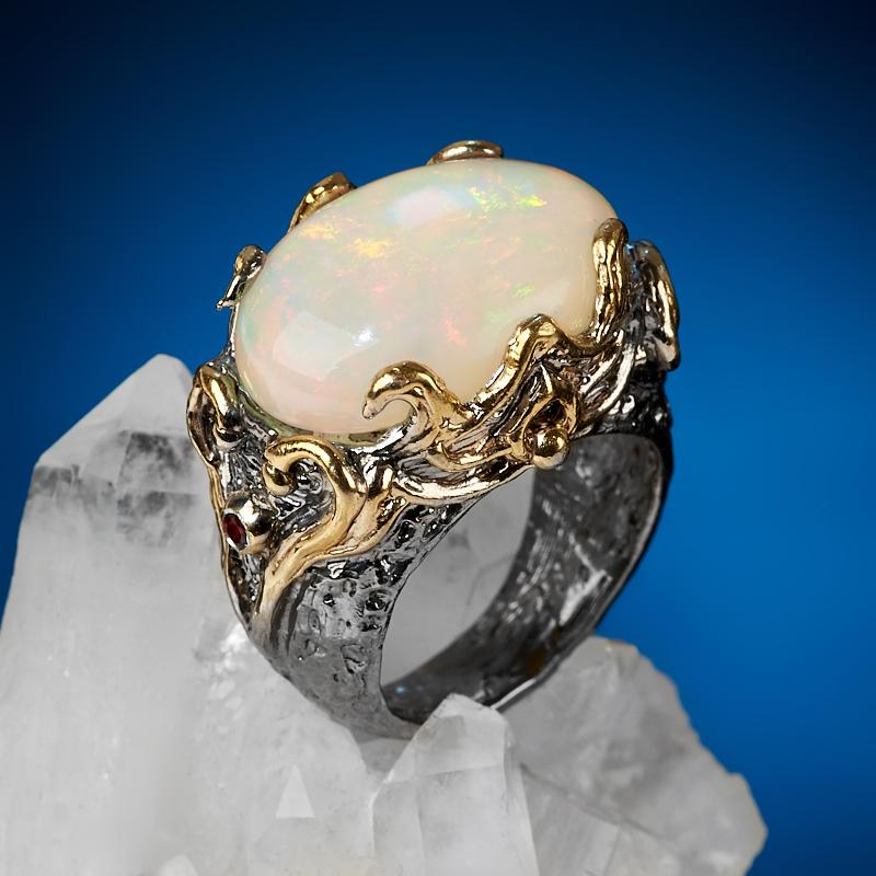 Кольцо опал благородный белый (серебро 925 пр. позолота, родир. сер.) размер 18 кольцо опал розовый серебро 925 пр позолота родир сер размер 18