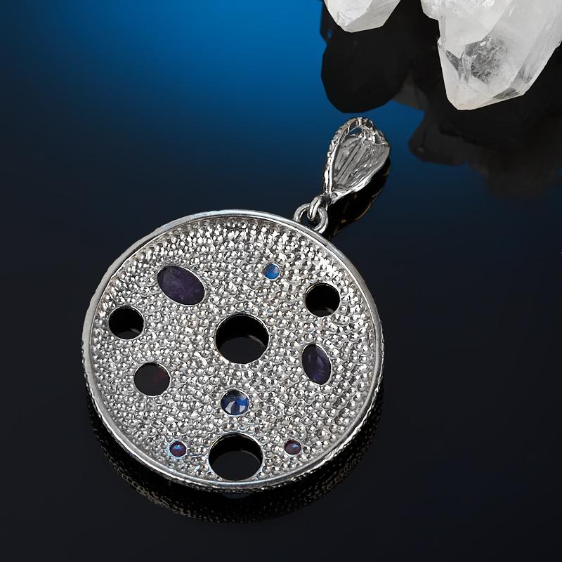 Кулон микс аметист, гранат, корунд рубиновый (серебро 925 пр. родир. сер. позолота) круг