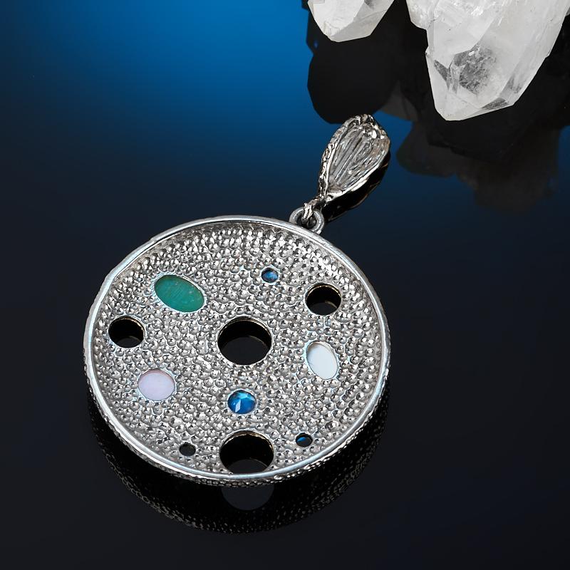 Кулон микс лунный камень, опал, перламутр (серебро 925 пр. позолота, родир. сер.) круг