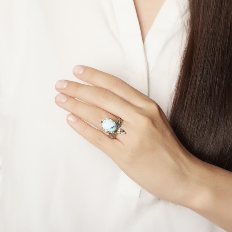 Кольцо бирюза Казахстан (серебро 925 пр. позолота, родир. сер.) размер 17,5