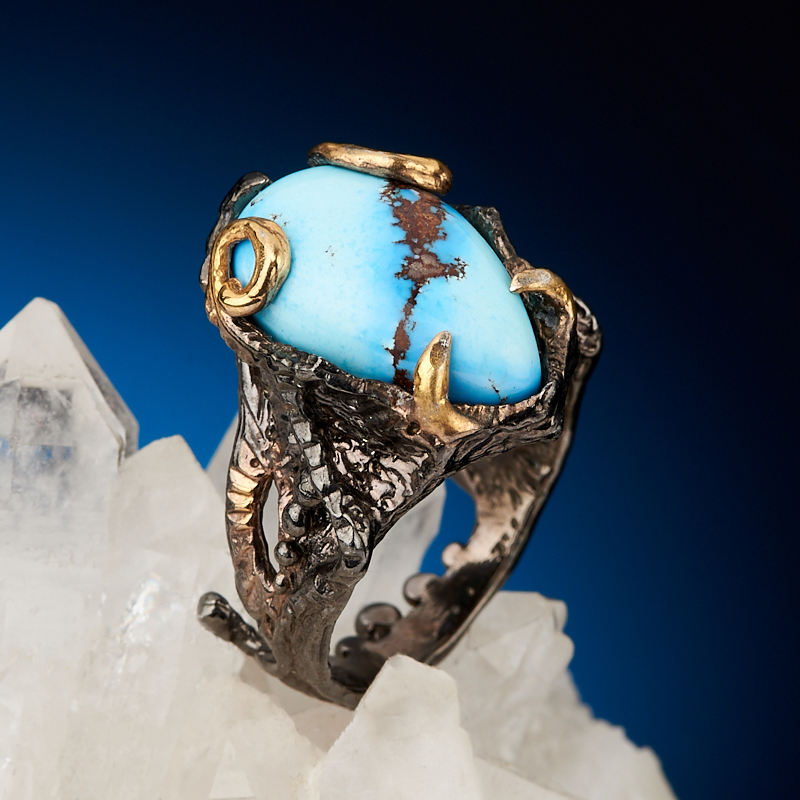 Кольцо бирюза Казахстан (серебро 925 пр. позолота, родир. черн.) размер 17