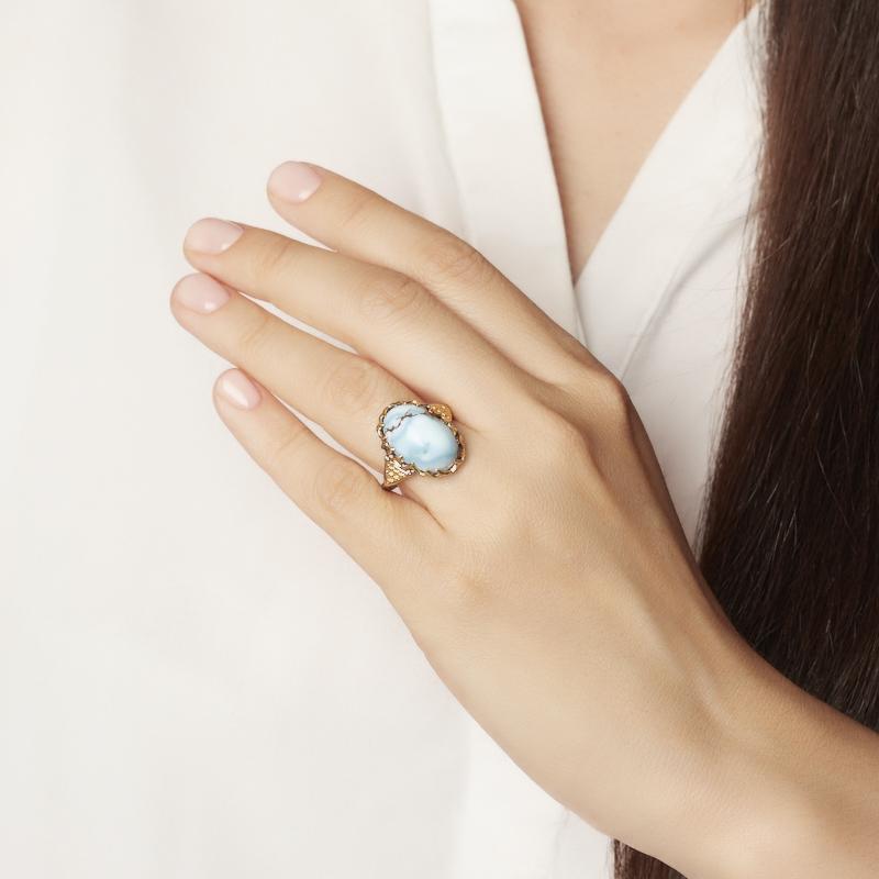 Кольцо бирюза Казахстан (серебро 925 пр. позолота, родир. сер.) размер 18