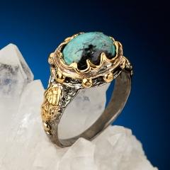 Кольцо бирюза Узбекистан (серебро 925 пр. позолота, родир. черн.) размер 18