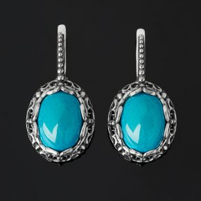 Серьги хризоколла Казахстан (серебро 925 пр. оксидир.)