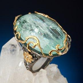 Кольцо аквамарин Россия (серебро 925 пр. позолота, родир. черн.) размер 18,5