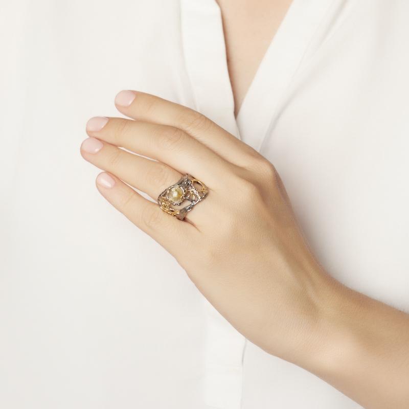 Кольцо рутиловый кварц Бразилия (серебро 925 пр. позолота, родир. сер.) размер 17,5