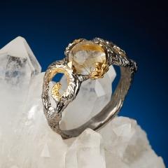 Кольцо рутиловый кварц Бразилия (серебро 925 пр. позолота, родир. сер.) размер 18