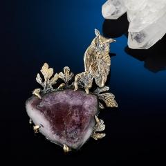 Кулон турмалин розовый (рубеллит) Россия (серебро 925 пр. позолота, родир. сер.)