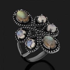 Кольцо микс лабрадор, лунный камень (серебро 925 пр. оксидир.) размер 18,5