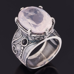 Кольцо розовый кварц Бразилия (серебро 925 пр. оксидир.) огранка размер 18
