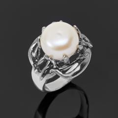 Кольцо жемчуг белый Гонконг (серебро 925 пр. оксидир.) размер 17,5