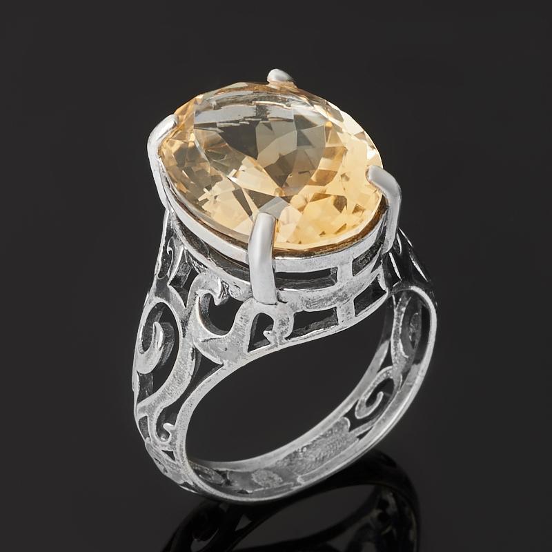 Кольцо цитрин (серебро 925 пр. оксидир.) огранка размер 18