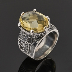 Кольцо цитрин Бразилия (серебро 925 пр. оксидир.) огранка размер 18,5