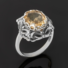 Кольцо цитрин Бразилия (серебро 925 пр. оксидир.) огранка размер 17,5