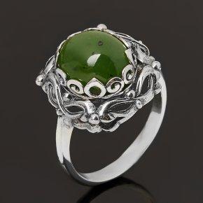 Кольцо нефрит зеленый Россия (серебро 925 пр. оксидир.) размер 18,5