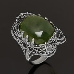 Кольцо нефрит зеленый Россия (серебро 925 пр. оксидир.) размер 17