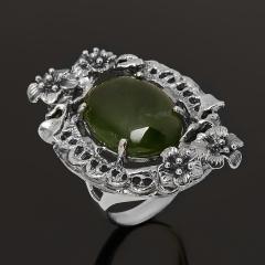 Кольцо нефрит зеленый Россия (серебро 925 пр. оксидир.) размер 18