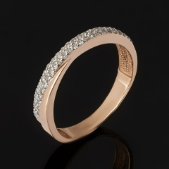 Кольцо бриллиант Россия (золото 585 пр. родир. бел.) огранка (обручальное) размер 17,5