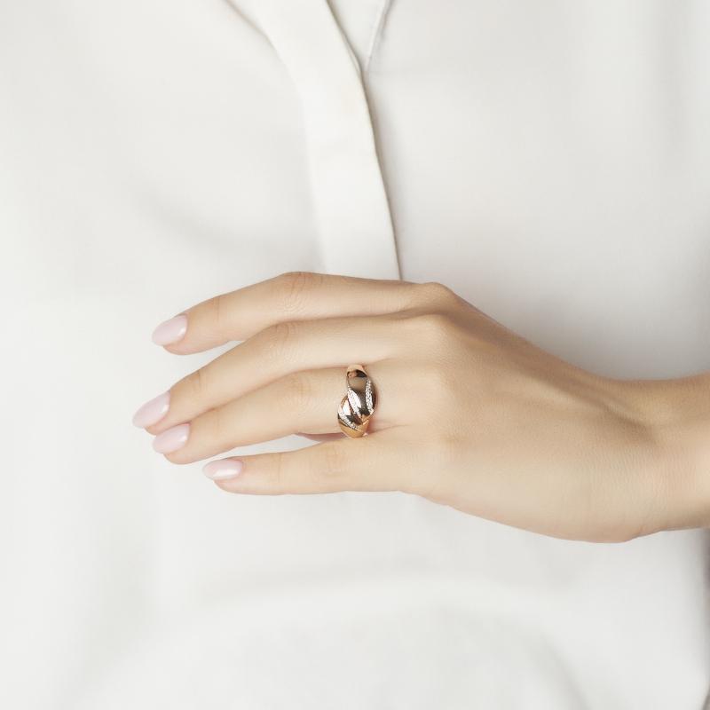 Кольцо бриллиант Россия (золото 585 пр. родир. бел.) огранка размер 19