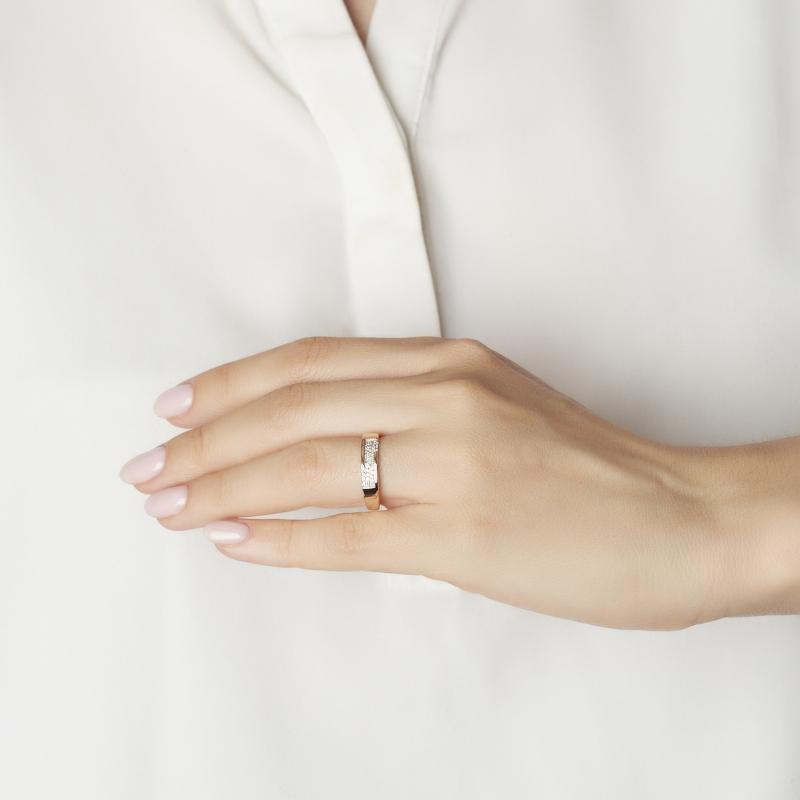 Кольцо бриллиант Россия (золото 585 пр. родир. бел.) огранка (обручальное) размер 19