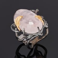 Кольцо розовый кварц Бразилия (серебро 925 пр. позолота, родир. черн.) огранка размер 19,5