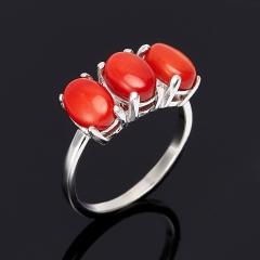 Кольцо коралл красный Индонезия (серебро 925 пр.) размер 17,5